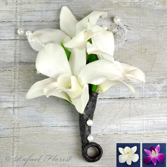 White dendrobium orchid boutonniere with Pearls for prom ...