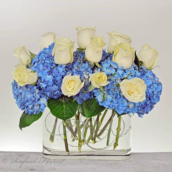 White Roses Blue Hydrangeas