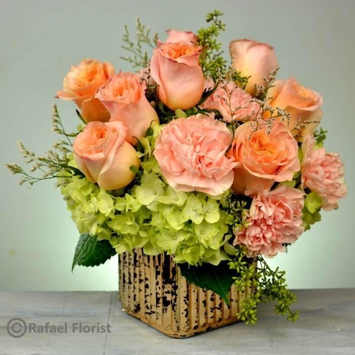 Peach roses carnation gold cube vase san