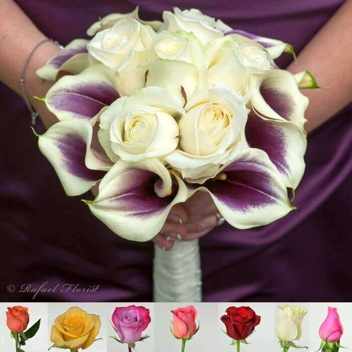 Purple Calla Lilies And White Roses Wedding Bouquet For The Bride